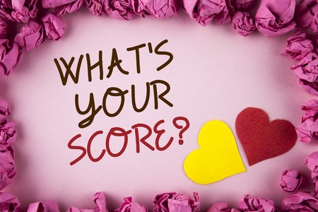 Word writing text What Is Your Score Question. Business concept for Tell Personal Individual Rating Average Results written plain background within Pink Paper Balls Hearts next to it.
