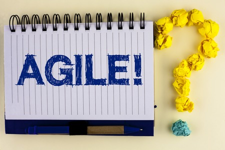 Word writing text Agile Motivational Call. Business concept for Develop an agility towards technological chnage written Notebook Book the plain background Pen next to it Ask for.
