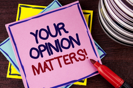 Word writing text Your Opinion Matters Motivational Call. Business concept for Client Feedback Reviews are important written Pink Sticky Note paper wooden background Cup and Marker next to it