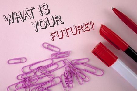 Writing note showing  What Is Your Future Question. Business photo showcasing Where do you see yourself in the next years written plain Pink background Pen Marker and Paper Pins next to it.