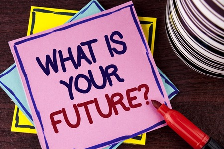 Word writing text What Is Your Future Question. Business concept for Where do you see yourself in the next years written Pink Sticky Note paper wooden background Cup and Marker next to it