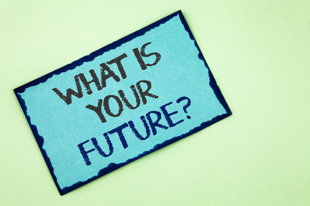 Conceptual hand writing showing What Is Your Future Question. Business photo text Where do you see yourself in the next years written Sticky Note Paper plain background.