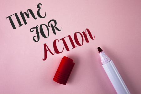 Conceptual hand writing showing Time For Action. Business photo showcasing Do something now for a particular purpose Act in this moment written Plain Pink background Marker next to it. Stock Photo