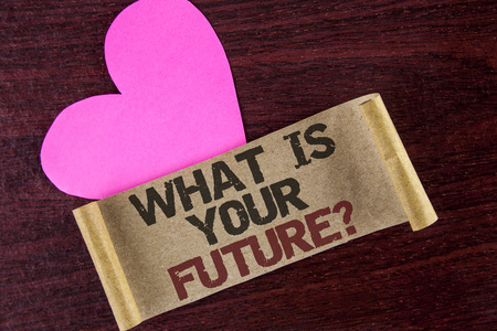 Writing note showing  What Is Your Future Question. Business photo showcasing Where do you see yourself in the next years written Cardboard paper wooden background Heart next to it.