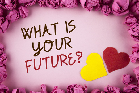 Word writing text What Is Your Future Question. Business concept for Where do you see yourself in the next years written plain background within Pink Paper Balls Hearts next to it.