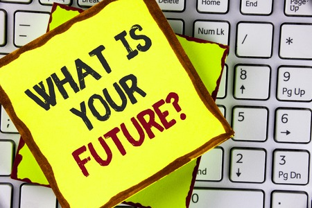 Text sign showing What Is Your Future Question. Conceptual photo Where do you see yourself in the next years written Sticky Note Paper placed the Laptop. Foto de archivo