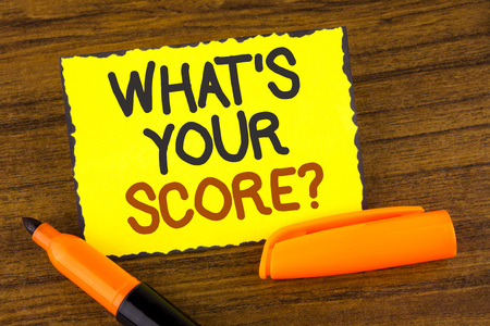 Conceptual hand writing showing What Is Your Score Question. Business photo showcasing Tell Personal Individual Rating Average Results written Yellow Sticky note paper wooden background Marker