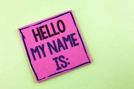 Text sign showing Hello My Name Is. Conceptual photo meeting someone new Introduction Interview Presentation written Pink Sticky Note Paper the plain background. Banque d'images