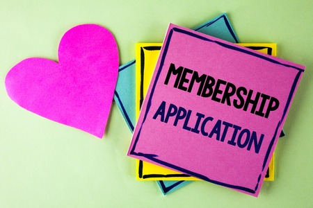 Writing note showing  Membership Application. Business photo showcasing Registration to Join a team group or organization written Pink Sticky Note Paper plain background Heart next to it.
