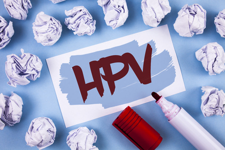 Handwriting text Hpv. Concept meaning Human Papillomavirus Infection Sexually Transmitted Disease Illness written Painted Sticky Note Paper within paper balls plain background Marker. Stock Photo - 99837328