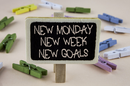 Conceptual hand writing showing New Monday New Week New Goals. Business photo showcasing next week resolutions To do list Goals Targets written Wooden Notice Board plain background Wooden Clips