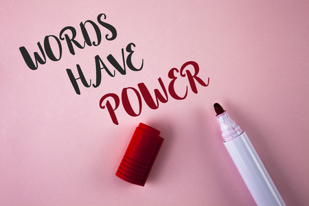 Conceptual hand writing showing Words Have Power. Business photo showcasing Statements you say have the capacity to change your reality written Plain Pink background Marker next to it. Banque d'images