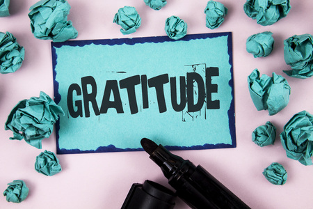 Word writing text Gratitude. Business concept for Quality of being thankful Appreciation Thankfulness Acknowledge written Sticky Note paper plain Pink background Paper Balls and Marker.