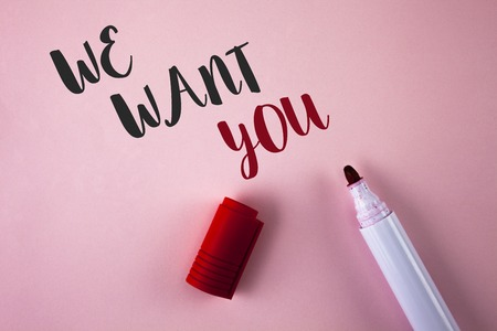 Conceptual hand writing showing We Want You. Business photo showcasing Employee Help Wanted Workers Recruitment Headhunting Employment written Plain Pink background Marker next to it. Foto de archivo