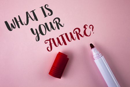 Conceptual hand writing showing What Is Your Future Question. Business photo showcasing Where do you see yourself in the next years written Plain Pink background Marker next to it.