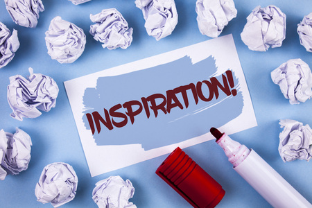 Handwriting text Inspiration Motivational Call. Concept meaning Stimulation to feel or do something creative written Painted Sticky Note Paper within paper balls plain background Marker.