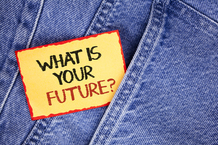 Writing note showing  What Is Your Future Question. Business photo showcasing Where do you see yourself in the next years written Sticky Note Paper the Jeans background. Foto de archivo