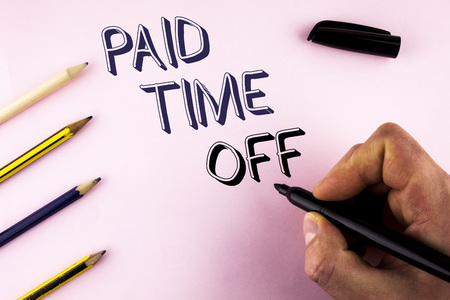 Word writing text Paid Time Off. Business concept for vacation with full payment take vacation Resting Healing written by Man plain background holding Marker Pencils next to it. Stockfoto
