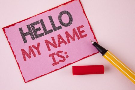 Text sign showing Hello My Name Is. Conceptual photo meeting someone new Introduction Interview Presentation written Pink Sticky Note paper the plain background Pen next to it.