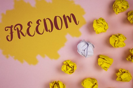 Word writing text Freedom. Business concept for Going out for a vacation, students having liberty to go world tour written Painted background Crumpled Paper Balls next to it.