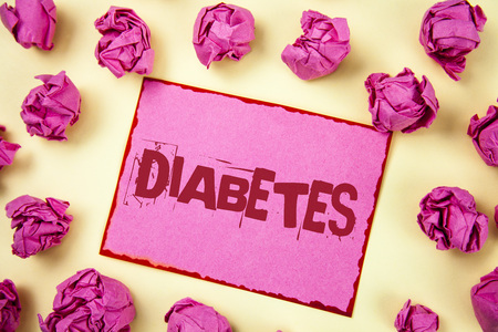 Writing note showing  Diabetes. Business photo showcasing Medical condition diagnosed with increased high level sugar written Pink Sticky Note Paper plain background Pink Paper Balls.