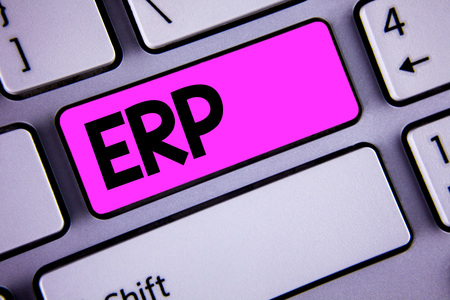 Conceptual hand writing showing Erp. Business photo showcasing Enterprise resource planning with automate back office functions written Key Button Keyboard with copy space. Top view.