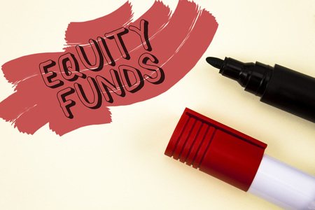 Handwriting text writing Equity Funds. Concept meaning Investors enjoys great benefits with long term investment written Painted background Markers next to it. Stock Photo