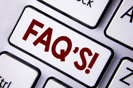 Word writing text Faq'S Motivational Call. Business concept for Multiple questions answered for online product written White Keyboard Key with copy space. Top view.