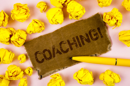 Conceptual hand writing showing Coaching Motivational Call. Business photo text Tough training begins to improve your skills written Tear Cardboard piece plain background Paper Balls Pen