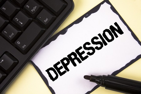 Conceptual hand writing showing Depression. Business photo text Work stress with sleepless nights having anxiety disorder written Sticky Note paper plain background Marker Keyboard.
