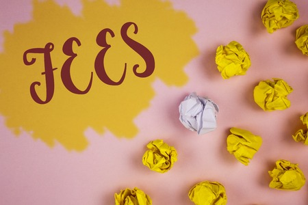 Word writing text Fees. Business concept for Online creative agency charges product components hourly costs written Painted background Crumpled Paper Balls next to it.