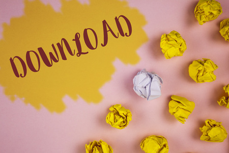 Word writing text Download. Business concept for Saving multiple file attachments to local hard disk drive location written Painted background Crumpled Paper Balls next to it.