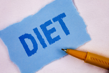 Text sign showing Diet. Conceptual photo Dietitians create meal plans to adopt and maintain healthy eating written Tear Blue Sticky note paper plain background Pen next to it.