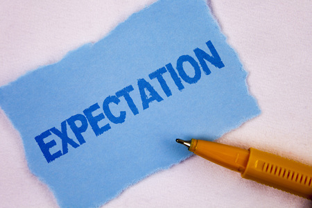 Text sign showing Expectation. Conceptual photo Meteorological research analyst predicts weather forecast written Tear Blue Sticky note paper plain background Pen next to it. Stock Photo