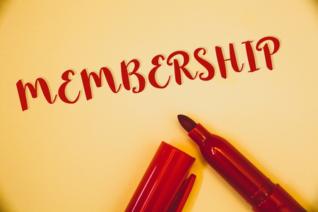 Handwriting texts Membership. Concept meaning Being member Part of a group or team Join an organizationIdeas messages words red letters created on vintage background open pen Stock Photo
