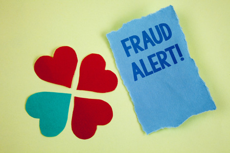 Handwriting texts writing Fraud Alert Motivational Call. Concept meaning Security Message Fraudulent activity suspected