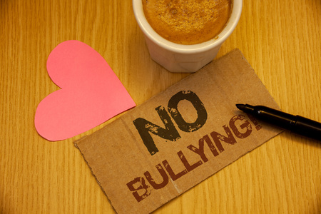 Conceptual hand writing showing No Bullying Motivational Call. Business photo texts Forbidden Abuse Harassment Aggression Assault Stock Photo