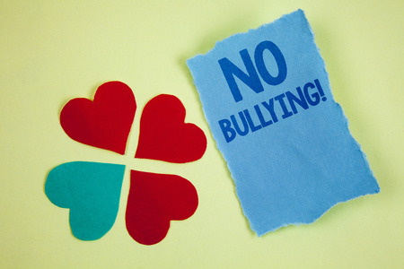 Handwriting textss writing No Bullying Motivational Call. Concept meaning Forbidden Abuse Harassment Aggression Assault