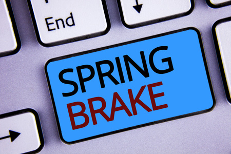 Text sign showing Spring Brake. Conceptual photo Easter week School vacation for students Party Relax Leisure