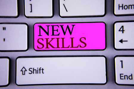 Text sign showing New Skills. Conceptual photo Recently Acquired Learned Abilities Knowledge Competences