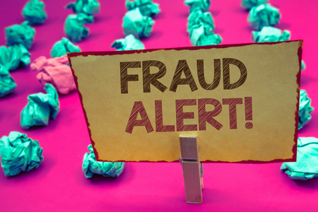 words writing textss Fraud Alert Motivational Call. Business concept for Security Message Fraudulent activity suspected Stock Photo