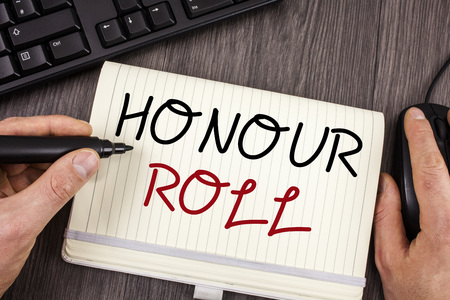 Words writing texts Honour Roll. Business concept for List of students who have earned grades above a specific average