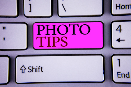 Text sign showing Photo Tips. Conceptual photo Suggestions to take good pictures Advices for great photography Stock Photo