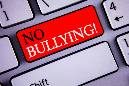 Writing note showing  No Bullying Motivational Call. Business photo showcasing Forbidden Abuse Harassment Aggression Assault