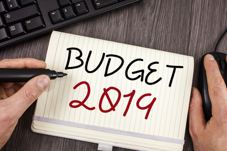 Words writing texts Budget 2019. Business concept for New year estimate of incomes and expenses Financial Plan Banco de Imagens - 103441725