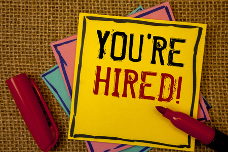 Handwriting texts You Are Hired Motivational Call. Concept meaning New employee recruited Worker selected Stock Photo