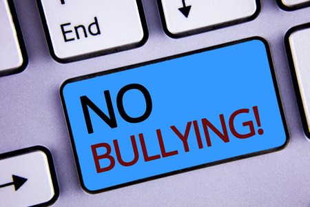 Text sign showing No Bullying Motivational Call. Conceptual photo Forbidden Abuse Harassment Aggression Assault