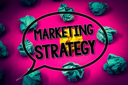 Handwriting text Marketing Strategy. Concept meaning Plan Formula Creativity Research Organization Huge emerald paper lobs surroundes yellow paper ball magenta color floor