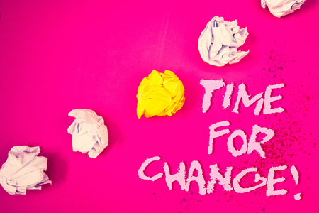 Word writing text Time For Change Motivational Call. Business concept for Transition Grow Improve Transform Develop Words pink background crumbled paper notes yellow white diagonal stress Stok Fotoğraf