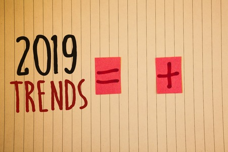 Writing note showing  2019 Trends. Business photo showcasing New year developments in fashion Changes Innovations ModernIdeas messages created on notebook page black red letters equal plus sign